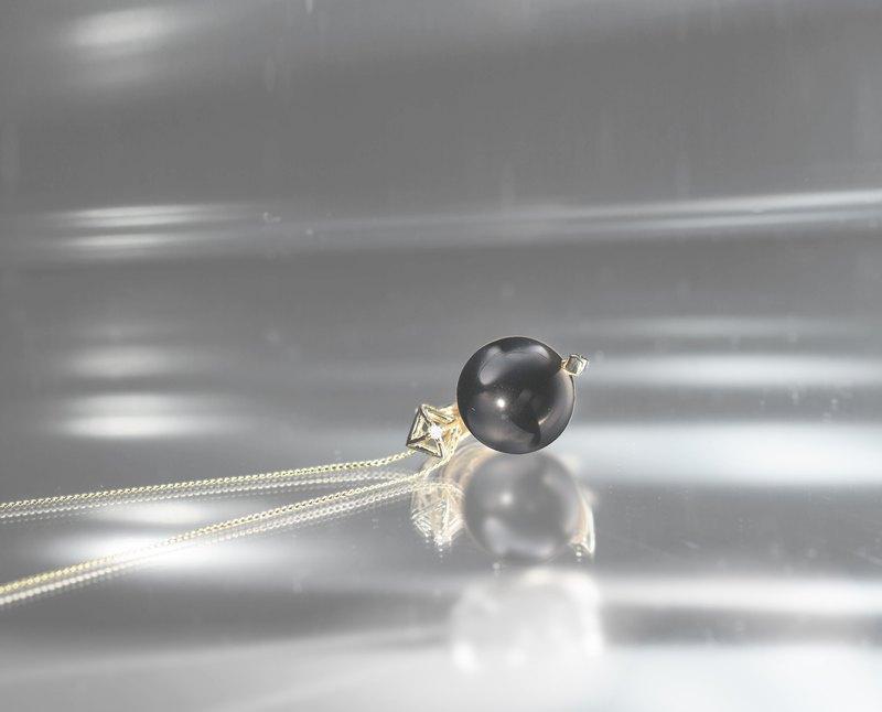 14k白金黑碧璽項鍊 白金鎖骨鍊 炫黑輕珠寶飾品 鑽石幾何墜子項鍊
