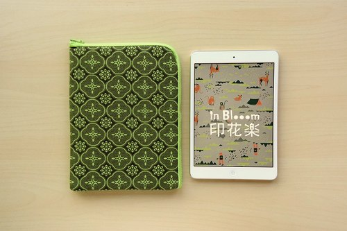iPad Mini Sleeve / Begonia Glass Pattern / Leaf Green