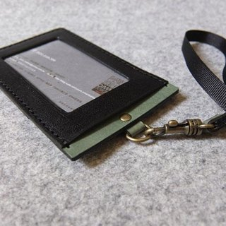 YOURS handmade leather leather U-Style straight document folder (including neck rope) personalized black leather + green