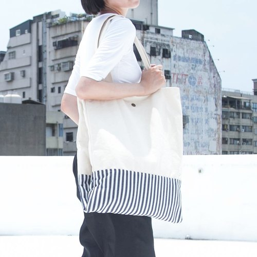 SUMI Stripe sailor large capacity shoulder bag _7SF900_ beige / white striped