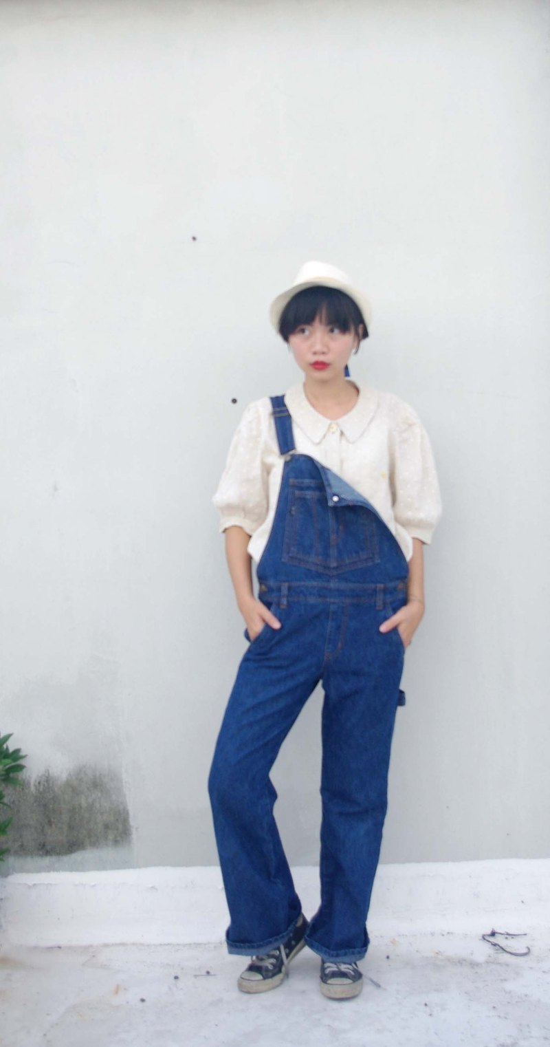 4.5studio- Japan Kanghui Shimokitazawa vintage - retro blue denim suspenders trousers trumpet