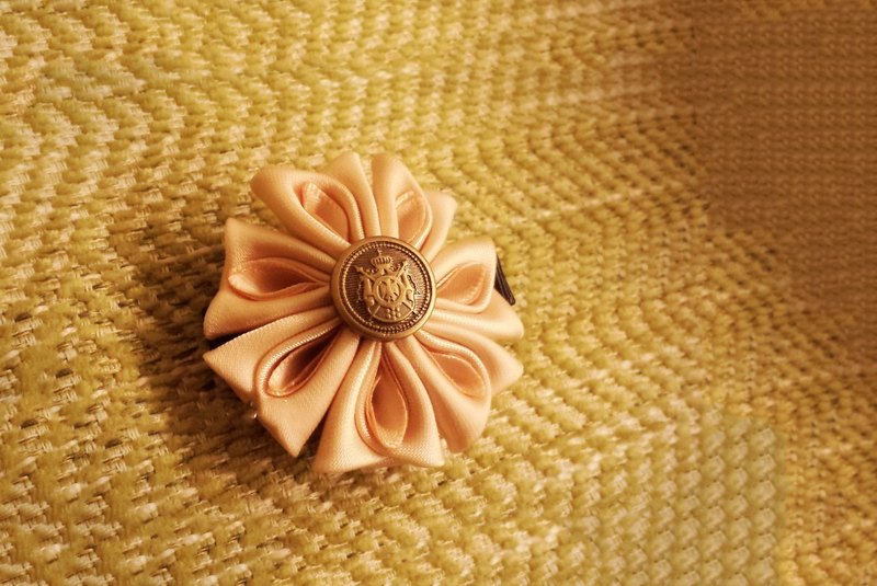 Handmade champagne ribbon flower hair clip/ hair band/ corsage