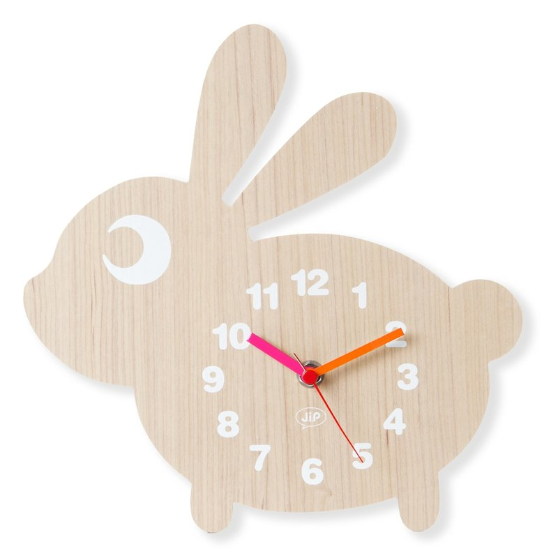 JIP, wall clock rabbit MDF wood veneer bunny clock
