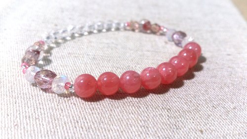 Rhodochrosite crystal in dearsharka || red specter x x x Moonstone white crystal. Light sweet rhyme soft beautiful net