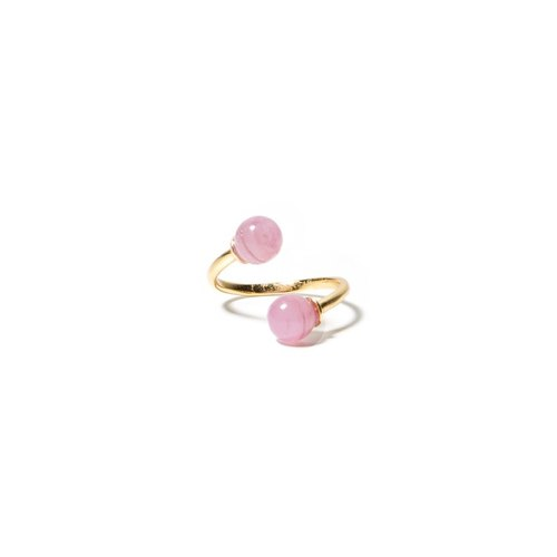 LUZID • THE DOT Series ring pink marbled twins (small)