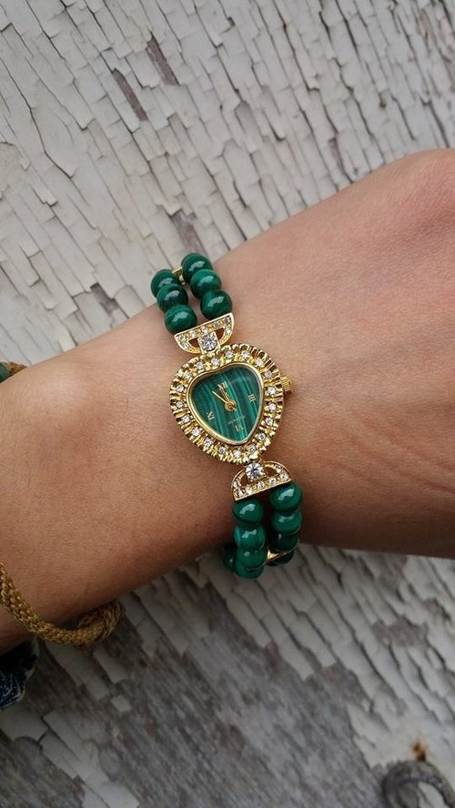 [Lost and find] antique watches gorgeous malachite amphibole