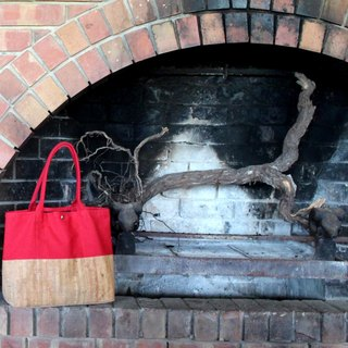 Cork Canvas Tote Bag - Dynamic Red