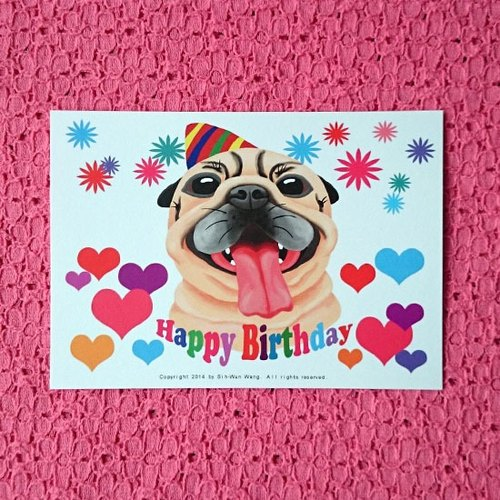 Postcard-Happy Birthday Pug-08
