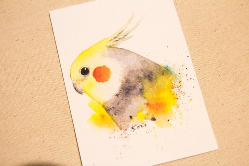 Native cockatiels [daily] A hand-painted watercolor style postcards