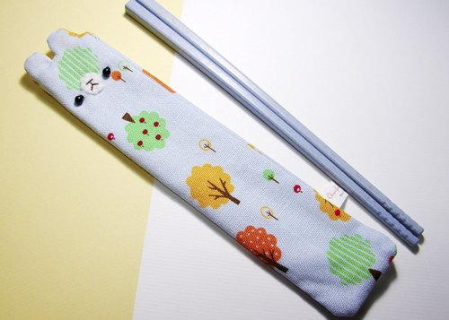 "Cheerful. Hand sewing Limited ""portable chopsticks sets / chopsticks / chopsticks / cutlery"" forest tree _ Blue"