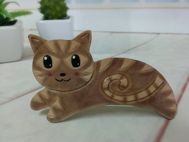 [Family] animal cat Kate. Handmade leather hairpin / spring / Mawei folder