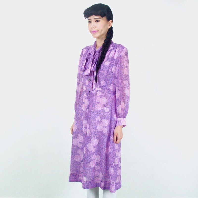 (Special) purple long-sleeved floral chiffon vintage dress AF8009
