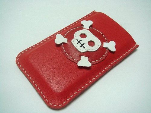 {Leatherprince 手工皮革} 台灣MIT 紅色 骷髏頭  iPhone 純手工牛皮保護套 / Ashbren the Skull iPhone Leather Case ( Red / White )