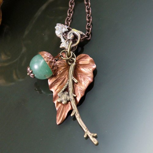 Beautiful natural stone fruits bronze long chain