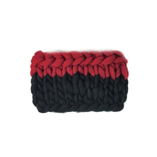 Strange Knitweird woven red and black stitching line straight super coarse woven scarf / scarves