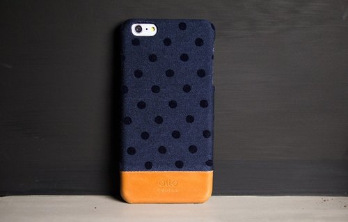 alto iPhone 6 Plus / 6S Plus leather phone case back cover, Denim - Blue Dot Navy Bubble [non-customized mine carved text] Leather Case Leather Case