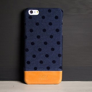 Alto iPhone 6S Plus Leather Phone Case Back Cover Denim - Blue Dot [Non-Lei Carving]
