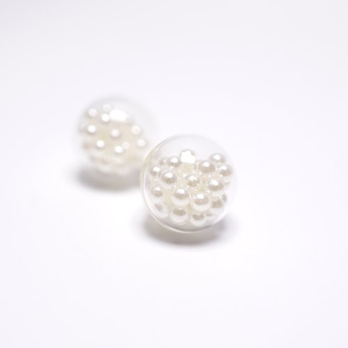 A Handmade glass ball earrings imitation pearl