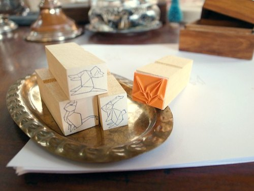 Atelier Hanu*Origami Collection*Wood Stamp Set ♥  ( 4 kinds )