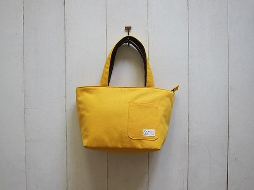 Dachshund zipper bag sails Bu Tuote - trumpet (mango yellow + dark coffee) + small outside pocket