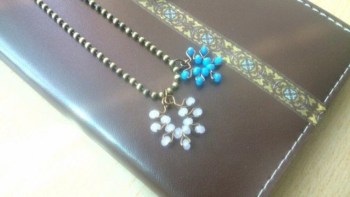 <Christmas. Snowflake> Copper hand-made necklace - turquoise
