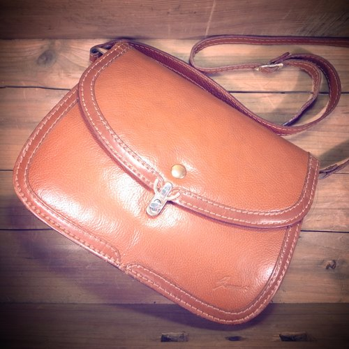 [Bones] La Benci caramel color leather shoulder bag genuine antique print bag Vintage