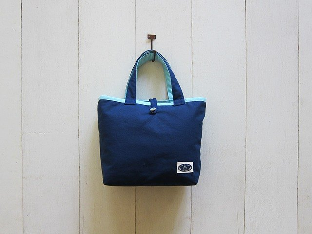 Macaron Series - small canvas tote bag navy blue + light blue (wood buckle opening paragraph)