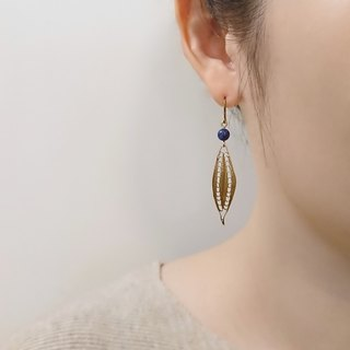 Deep Ocean Blue Sodalite Eye-Shaped Brass Filigree  Drop Earrings