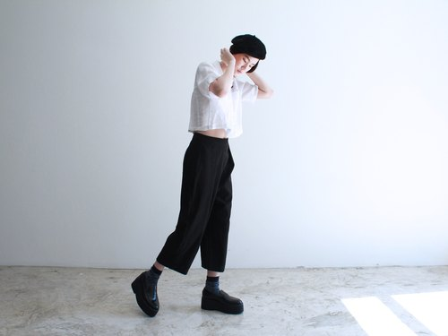 Black velvet leather trousers (Bean Pants)