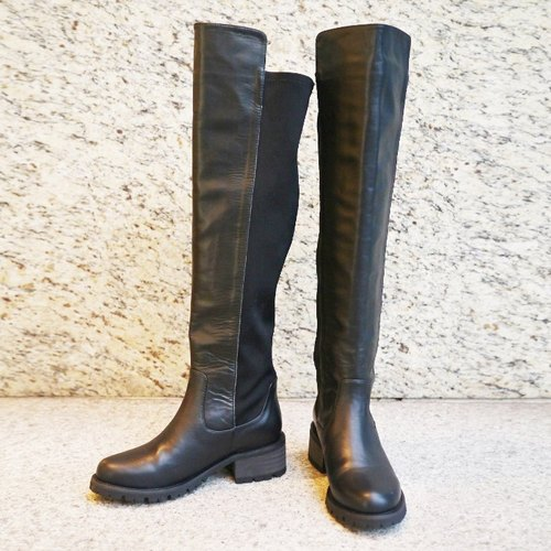 [Travel] own dual texture stretch leather boots - fashion black (Jinyu 22.5)