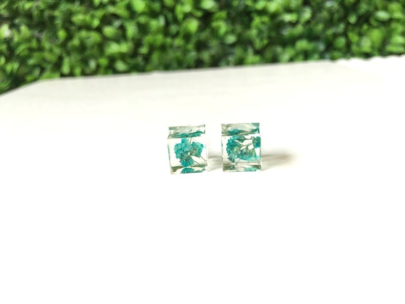*Haku‧Neko*Quartet green fruit capsules Starry earrings (large)