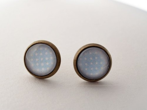 ♥ ♥ OldNew Lady- made a small gift bronze small round earrings - little section [Dream Baby Blue]