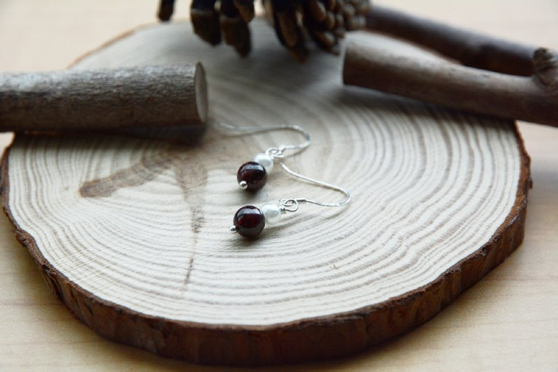 Handmade garnet pearl earrings sterling silver ear hook
