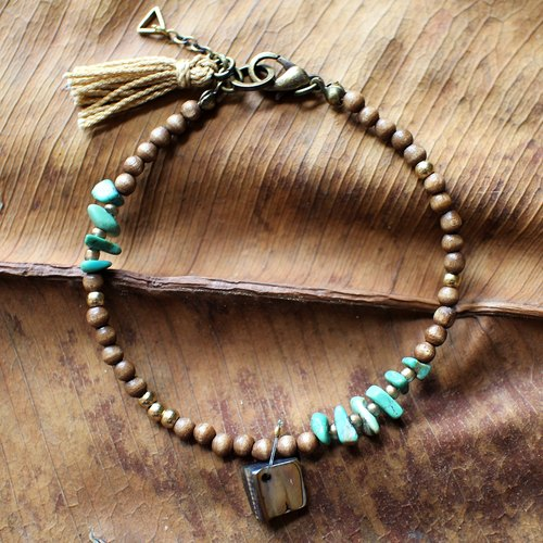 Muse natural wind series NO.3 brass coffee wooden beads turquoise bracelet