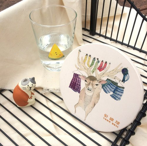 Sewing ball Taiwan endemic animal ceramic coaster brook (serow)