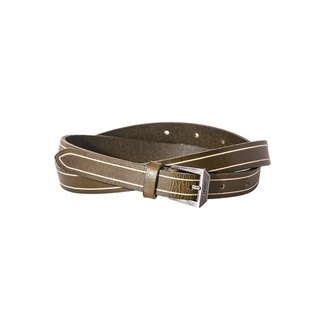 Sour Worms edition fine leather belt - light green