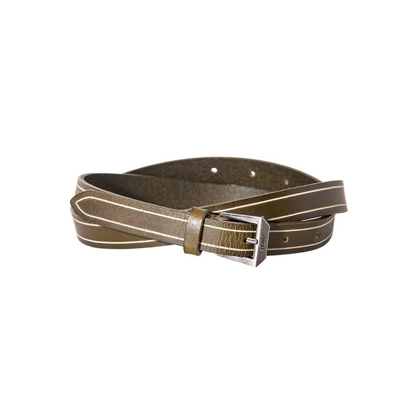Sour Worms Leather Fine Belt - Light Green