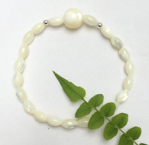 BR0335 - own design and manufacture of natural gems - pearl / silver bracelet 925
