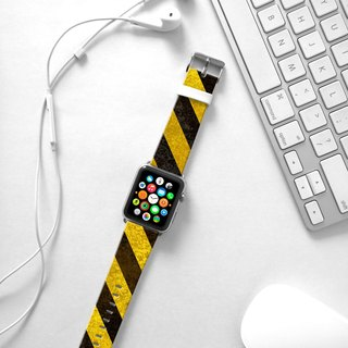 Apple Watch Series 1 , Series 2, Series 3 - Yellow Hazard Stripes Watch Strap Band for Apple Watch / Apple Watch Sport - 38 mm / 42 mm avilable