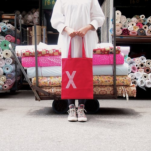 AlphaBAG (A-Z)|customize letter · hand craft · canvas tote bag|red + red & white