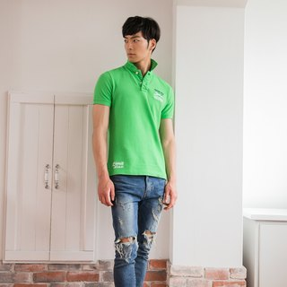 Cotton mesh Polo shirt green leap badge design models