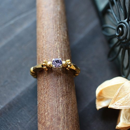 EF golden years NO.191 pale purple diamond elegant brass elastic ring tail ring foot ring