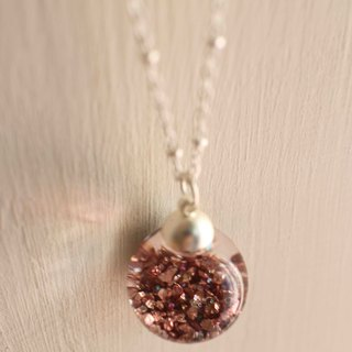 Golden mineral rose  glass ball necklace 【shining stars】