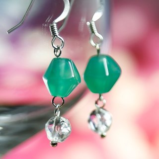 E0273 - Own Design and Manufacture - Natural Gemstone Earrings - White Crystal, Agate