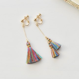 イヤリング/Asymmetry tassel earrings/Vacation