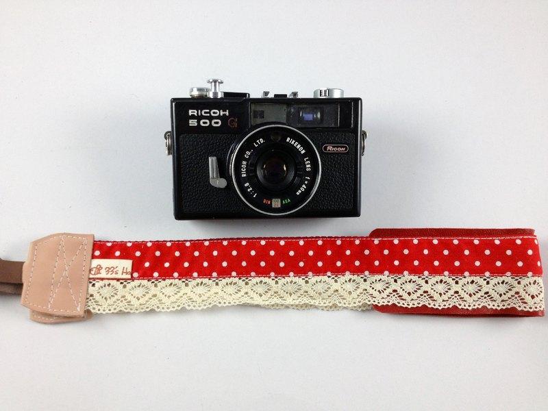 手作單眼.類單眼減壓相機背帶.相機背繩---蕾絲紅底點點款