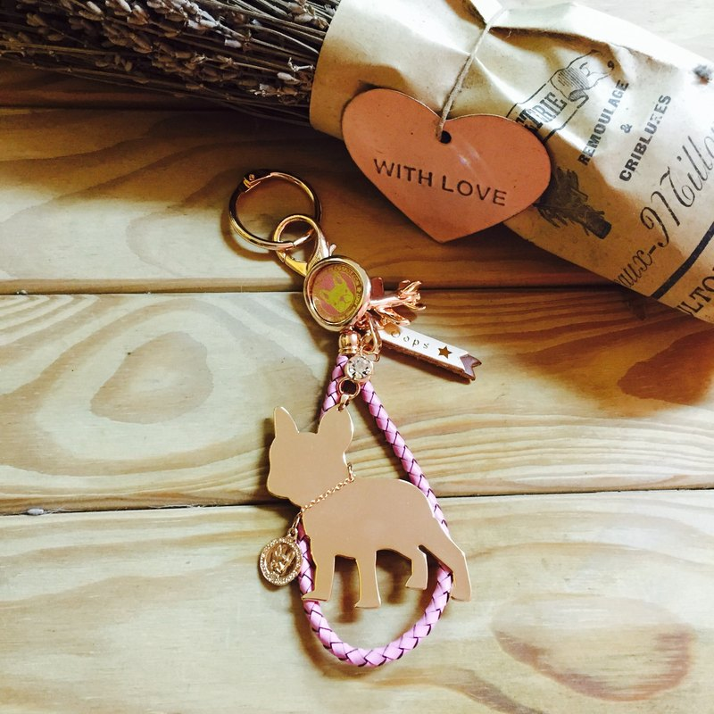 Oops Leather Braided Rope French Bulldog Silhouette Rose Gold Charm Key - Mother's Day Gift -