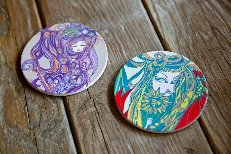咖啡女孩-紫/綠女孩組  陶瓷吸水杯墊