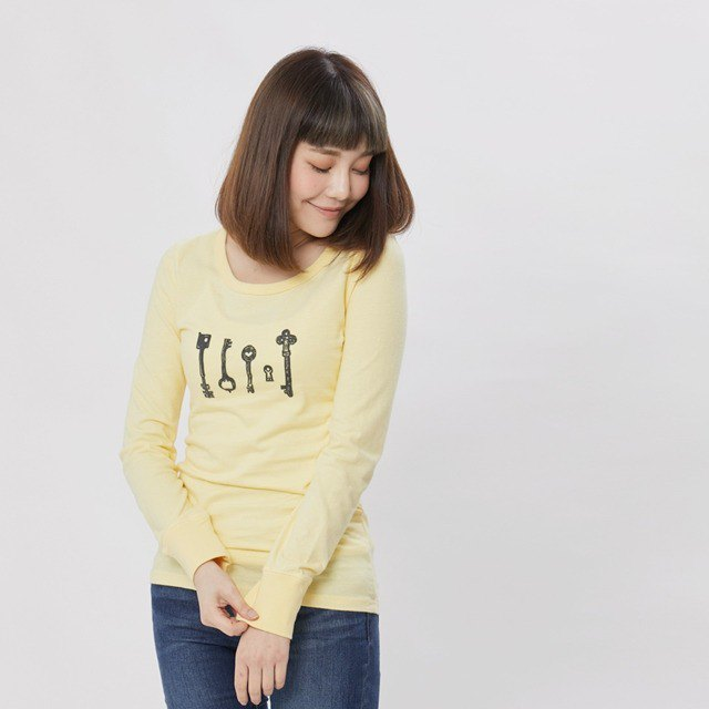 Keyman peach cotton long sleeve T-shirt