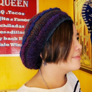 Araignee Design*Handmade wool cap - lace beret*- blue peacock elegant and elegant painter hat dark blue purple orange